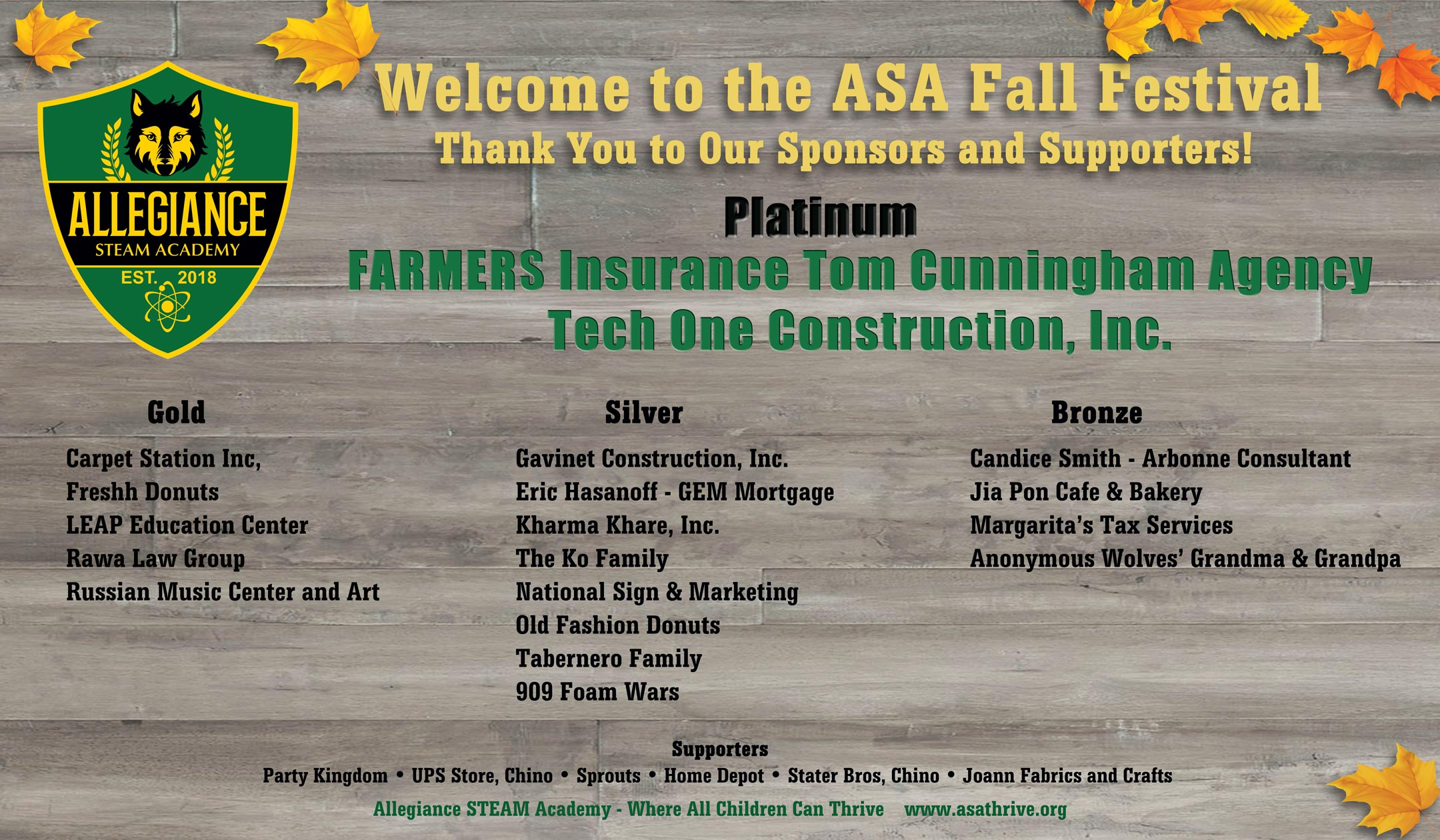 2018 ASA Fall Festival - Thank You to our sponsors